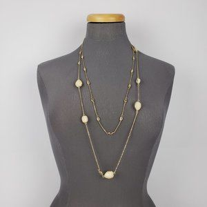Banana Republic Gold & Cream Layered Necklace